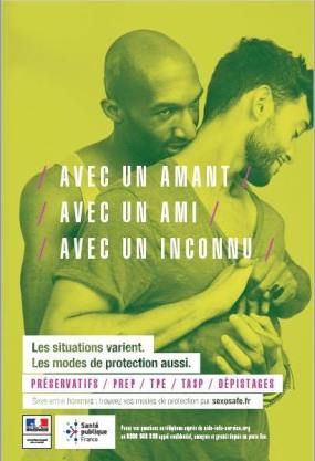 advertisement released by the French government « with a lover, a friend, or a stranger, situations change but not the method of protection against disease »